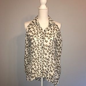 Forever 21 High Low Cold Shoulder Leopard blouse